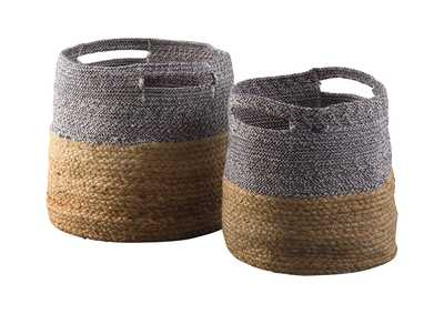 Parrish Natural/Blue 2 Piece Basket Set