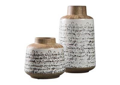 Meghan Tan/Black Vase Set (Set of 2)