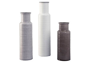 Deus Gray/White/Brown 3 Piece Vase Set