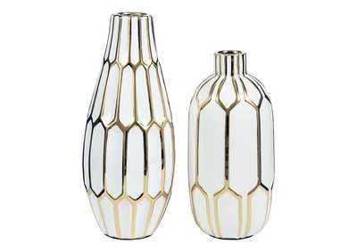 Mohsen Gold/White Vase (Set of 2)