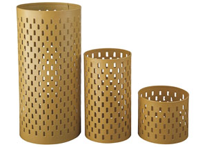 Caelan Yellow Candle Holder (Set of 3)(2/CS)