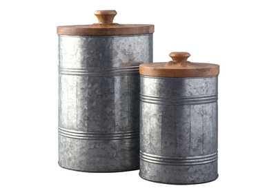 Image for Divakar Antique Gray Jar Set (Set of 2)