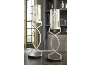 Odele Silver Finish Candle Holder (Set of 2)(2/CS)