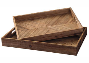 Dewitt Brown Tray Set (Set of 2)
