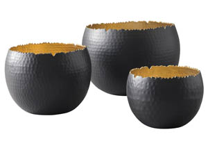 Claudine Black/Gold Finish Bowl Set (Set of 3)