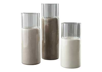 Deus Gray/White/Brown Candle Holder (Set of 3)