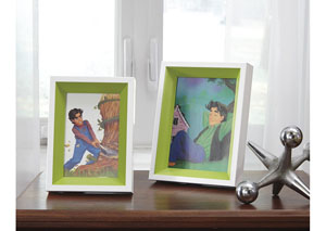 Obie White/Green Photo Frame (Set of 2) (2/CS)