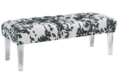 Brooklee Black/Cream/Silver Accent Bench
