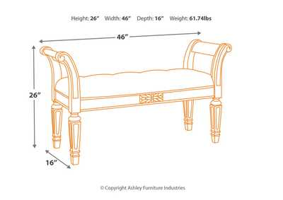 Realyn Antique White Accent Bench,Signature Design By Ashley