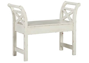 Heron Ridge White Accent Bench,Signature Design By Ashley
