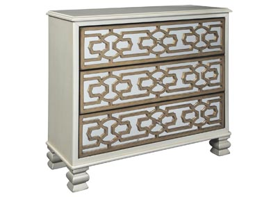 Senzernell Gold/Silver Finish Accent Cabinet