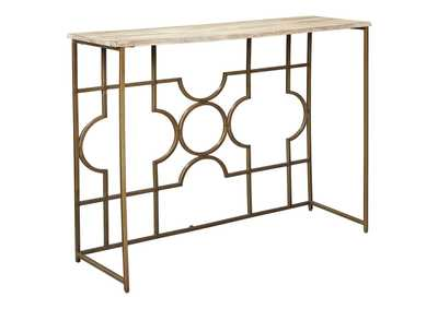 Roelsen Gold Finish Console Sofa Table