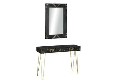 Coramont Black/Gold Finish Console Table w/Mirror