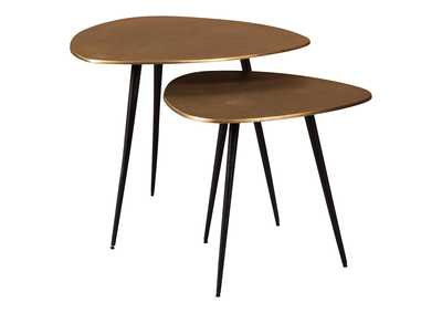 Shemleigh Black/Brass Finish Accent Table (Set of 2)