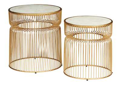 Vernway White/Gold Accent Table (Set of 2)