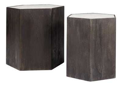 Nanfield White/Gray Accent Table (Set of 2)
