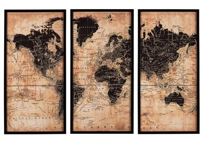 Pollyanna World Map 3 Piece Wall Art Set