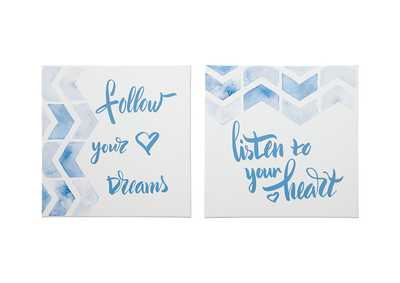 Ellis Teal/White Wall Art Set (Set of 2)
