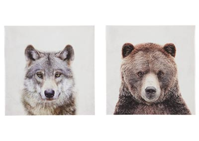 Albert Wolf and Bear 2 Piece Wall Art Set