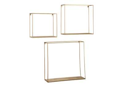 Image for Efharis Natural/Gold Finish Wall Shelf Set (Set of 3)