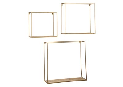 Efharis Natural/Gold Finish Wall Shelf Set (Set of 3)