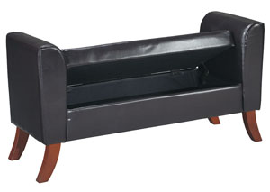 Black Upholstered Storage Bench