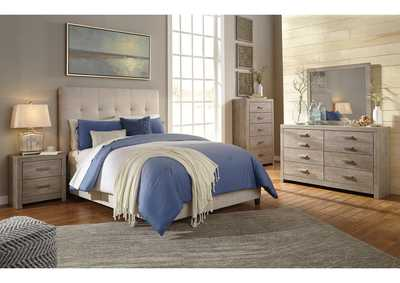 Dolante Beige King Upholstered Platform Bed