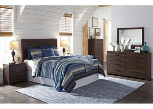 Arkaline Brown Queen/Full Panel Headboard w/Dresser & Mirror