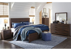 Arkaline Brown King Panel Bed w/Dresser, Mirror & Nightstand