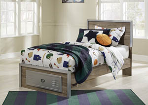 McKeeth Gray Twin Panel Storage Bed