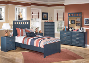 Leo Full Panel Bed w/Dresser, Mirror, Drawer Chest & 2 Nightstands