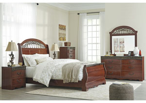 Fairbrooks Estate Reddish Brown Queen Sleigh Bed