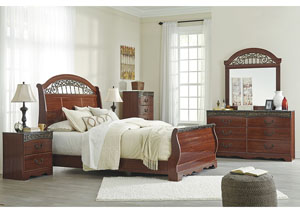 Fairbrooks Estate Reddish Brown Queen Sleigh Bed w/Dresser, Mirror, Drawer Chest & Nightstand
