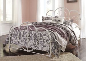 Loriday Aged White Queen Metal Bed
