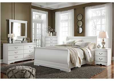 Anarasia White Queen Sleigh Bed w/Dresser, Mirror, Drawer Chest and Nightstand