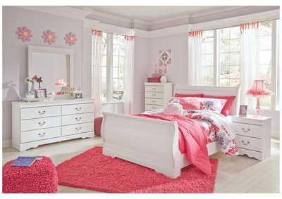 Image for Anarasia White Full Sleigh Bed w/Dresser and Mirror
