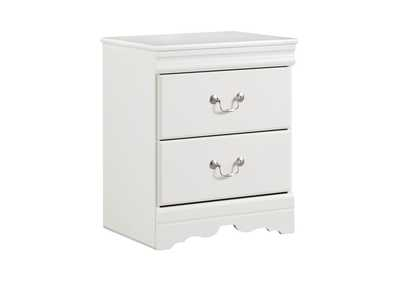 Anarasia White 2 Drawer Nightstand