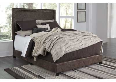 Dolante Brown Queen Upholstered Platform Bed