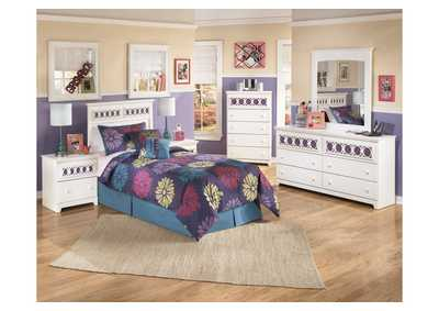 Zayley Twin Panel Headboard w/Dresser, Mirror & Drawer Chest