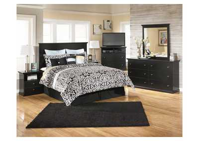 Maribel Black Queen/Full Panel Headboard w/ Dresser, Mirror, Drawer Chest and Nightstand