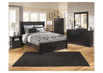 Maribel Black Queen Storage Platform Bed w/Dresser, Mirror & Drawer Chest
