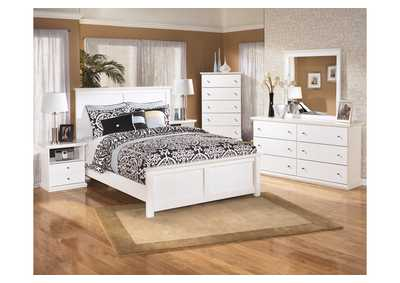 Bostwick Shoals King Panel Bed w/Dresser, Mirror & Drawer Chest