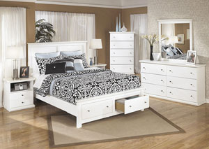 Bostwick Shoals Queen Storage Platform Bed w/Dresser, Mirror & Drawer Chest