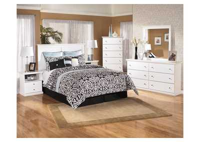 Bostwick Shoals White Queen/Full Panel Headboard w/Dresser, Mirror, Drawer Chest & Nightstand