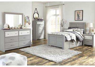 Arcella Gray Twin Storage Bed w/Dresser and Mirror
