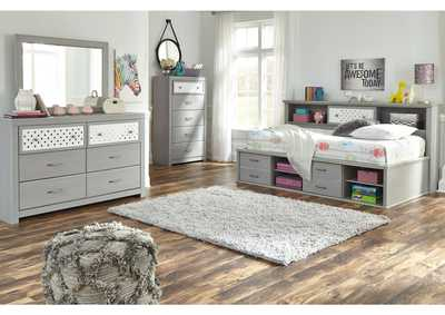 Arcella Gray Bookcase Twin Bed w/Dresser and Mirror
