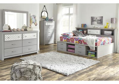 Arcella Gray Bookcase Full Bed w/Dresser and Mirror