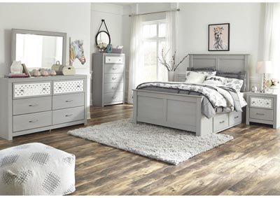 Arcella Gray Full Storage Bed w/Dresser and Mirror
