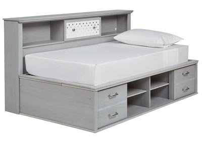Arcella Gray Bookcase Twin Bed