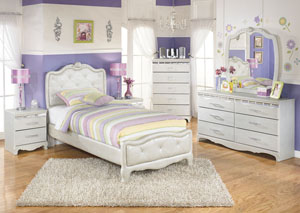 Zarollina Twin Upholstered Bed, Dresser, Mirror, Chest & 2 Night Stands